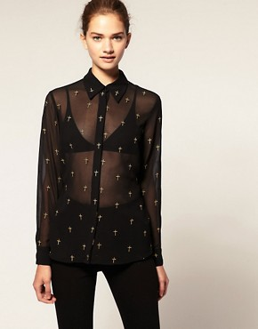 Image 1 of ASOS Embroidered Cross Shirt
