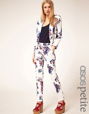 Image 1 of ASOS PETITE Exclusive Pants In White Floral Print