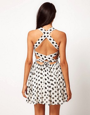 Image 1 ofRare Chiffon Spot Cross Back Skater Dress