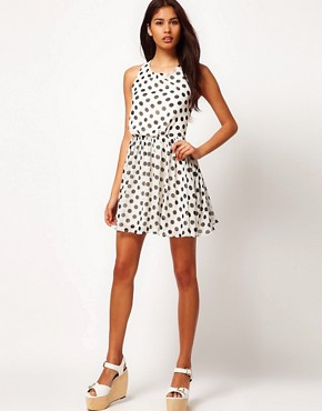 Image 4 ofRare Chiffon Spot Cross Back Skater Dress