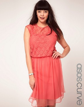 ASOS CURVE Exclusive Dress With Lace and Mesh
