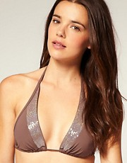 buy Calvin Klein Sequin Trim Halter Bikini Top With Removable Cups by Calvin Klein in swimsuits shop