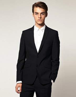 ASOS Slim Fit Two Button Dark Navy Jacket