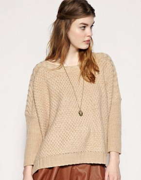 Image 1 of ASOS Cable Neckline Jumper