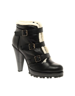 Image 1 of&#160;ASOS ADORE Leather and Shearling Buckle High Ankle Boot