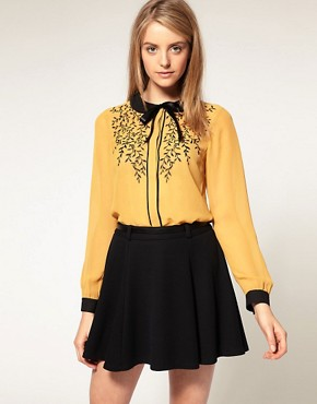 Image 1 of ASOS Embroidered Satin Bow Blouse