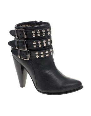 Image 1 of London Rebel Triple Buckle Studded Ankle Boots