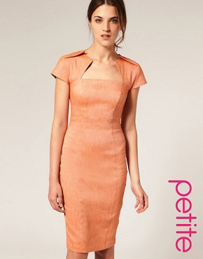 Image 1 of&amp;nbsp;ASOS PETITE Linen Pencil Dress with Pleat Neckline