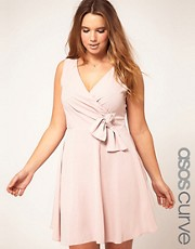 ASOS CURVE Wrap Dress With Bow Detail