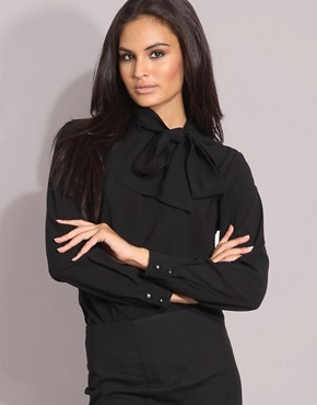 ASOS | ASOS Pussybow Button Back Blouse at ASOS :  black top