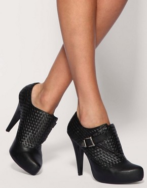 ASOS - Tinky Woven Buckle Shoe Boots :  faux leather boots shoes leatherette faux leather