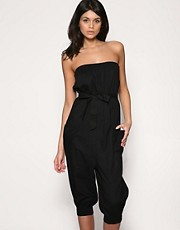 buy ASOS Shirred Bandeau Beach Jumpsuit With Pockets by ASOS in swimsuits shop