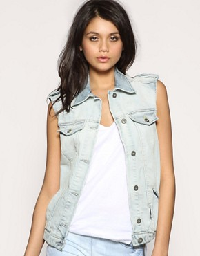  Vila - Boyfriend Fit Denim Trucker Waistcoat :  boyfriend fit denim vila light wash denim