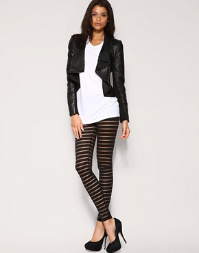 Image 1 of Vila Panelled Mesh Leggings