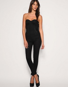 ASOS Lace Up Bandeau Jumpsuit  :  asos asos lace up bandeau jumpsuit jumpsuit sweetheart neckline