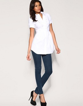ASOS | ASOS Short Sleeve Ruffle Longline Shirt at ASOS :  top white long