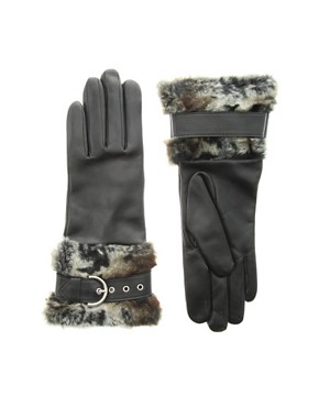 Dents - Leather Strap With Faux Fur Trim Gloves :  faux fur trim fur accessory faux fur