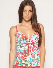 buy Freya Carousel Floral & Spot Trim Plunge Tankini Top by Freya in swimsuits shop