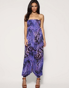 ASOS - Swirl Print Beach Jumpsuit :  printed jumpsuit asos swirl print beach jumpsuit harem leg harem leg jumpsuit