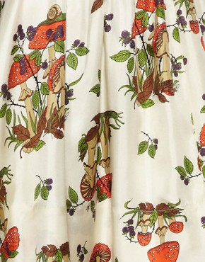 Image 3 of TBA Mushroom Print Silk Skirt