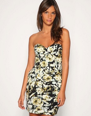 Image 1 of Motel Another Rose Print Bandeau Dress