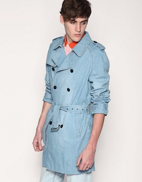 Villain Felix Washed Denim Trench Coat
