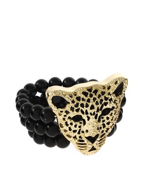 ASOS | ASOS Stretch Beads Bracelet With Leopard Head at ASOS