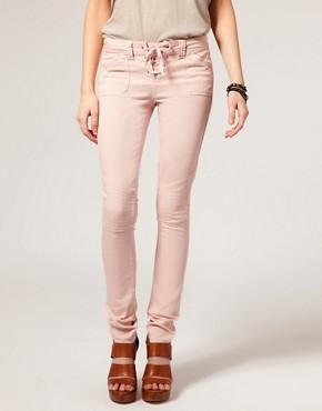 Image 1 ofASOS Lace Up Biker Skinny Jean